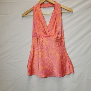EXPRESS Pink/Coral Silk Halter Top with Deep V-Nec